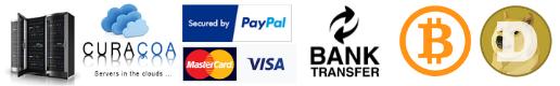 Curacao Webhosting, PayPal, Bitcoin, Bank Transfer, Visa, Mastercard